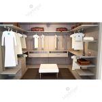 Vestidor lacado en color claro y tacto seda con diseño modular