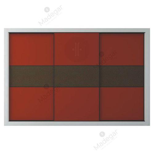 Armario de diseño, corredera, combinación en lacado colores y efecto cuero. Modelo Mdg5