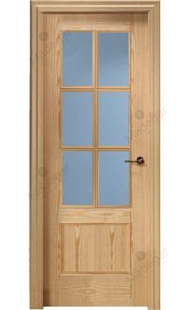 Puerta interior clásica madera Plafonada, maciza 2 Cuadros 6V, pino natural. Castalla