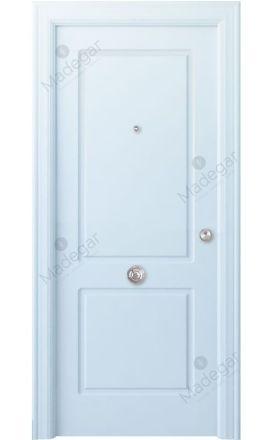 Puerta entrada seguridad madera blindada Arc R-Bellver - blanco. Madegar