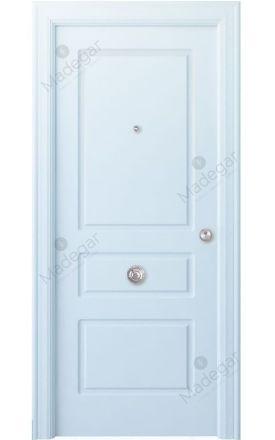 Puerta entrada seguridad madera blindada Arc R-Breña - blanco. Madegar