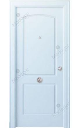 Puerta entrada seguridad madera blindada Arc R-Lizana - blanco. Madegar