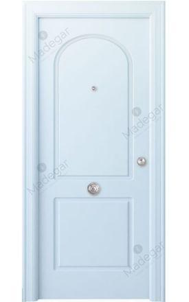 Puerta entrada seguridad madera blindada Arc R-Tilos - blanco. Madegar
