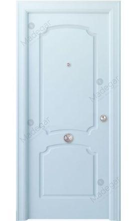 Puerta entrada seguridad madera blindada Arc R-Faedo - blanco. Madegar