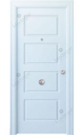 Puerta entrada seguridad madera blindada Arc R-Eume - blanco. Madegar