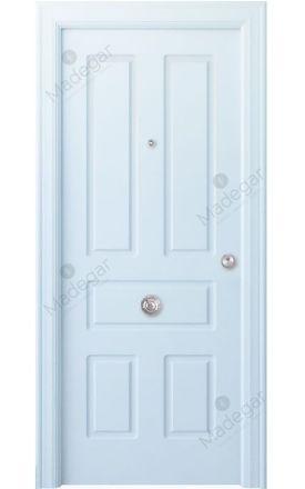 Puerta entrada seguridad madera blindada Arc R-Genal - blanco. Madegar