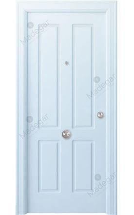Puerta entrada seguridad madera blindada Arc R-Rodeno - blanco. Madegar