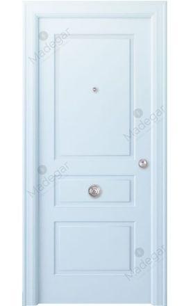 Puerta entrada seguridad madera blindada Angle Breña - blanco. Madegar