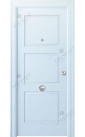 Puerta entrada seguridad madera blindada Angle Urbión - blanco. Madegar