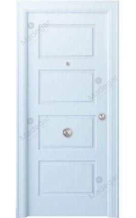 Puerta entrada seguridad madera blindada Angle Eume - blanco. Madegar