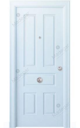 Puerta entrada seguridad madera blindada Angle Genal - blanco. Madegar