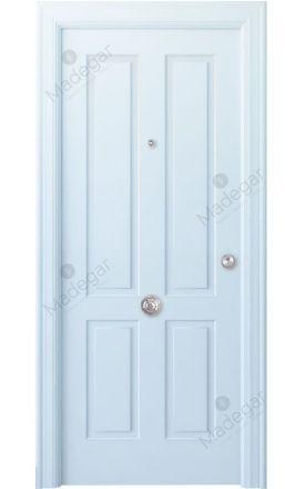 Puerta entrada seguridad madera blindada Angle Rodeno - blanco. Madegar