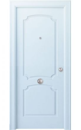 Puerta entrada seguridad madera blindada Angle Faedo - blanco. Madegar