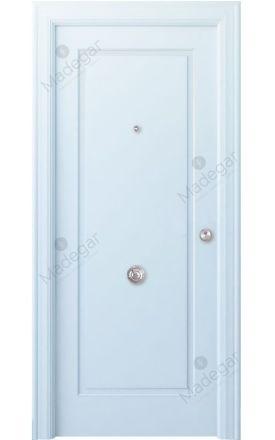 Puerta entrada seguridad madera blindada Angle Oma - blanco. Madegar
