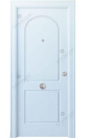 Puerta entrada seguridad madera blindada Angle Tilos - blanco. Madegar