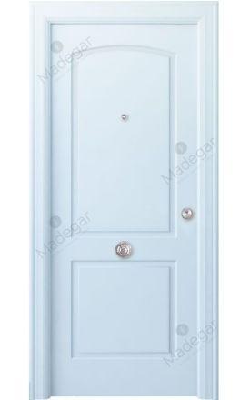 Puerta entrada seguridad madera blindada Angle Lizana - blanco. Madegar