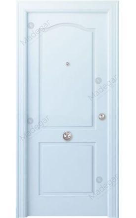 Puerta entrada seguridad madera blindada Angle Saler - blanco. Madegar