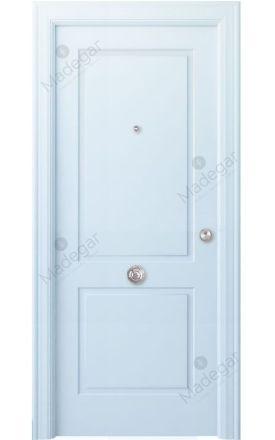 Puerta entrada seguridad madera blindada Angle Bellver - blanco. Madegar