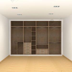 Interior armario I01151 Dynamic 4 Módulos, acabado melamina Concrete Cañamo Cottone