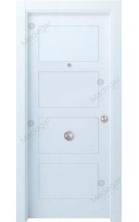 Puerta entrada seguridad madera blindada Selection Bertiz 4 - blanco. Madegar