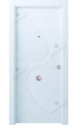 Puerta entrada seguridad madera blindada Selection Turbon - blanco. Madegar