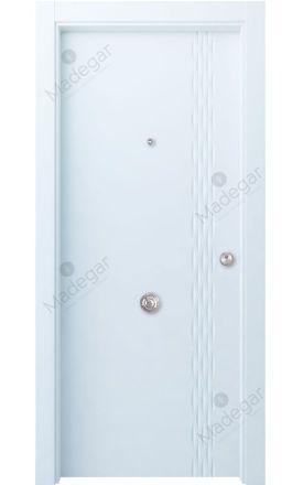 Puerta entrada seguridad madera blindada Selection Galga - blanco. Madegar