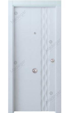 Puerta entrada seguridad madera blindada Selection Ulía - blanco. Madegar