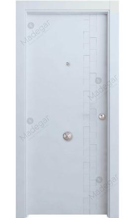 Puerta entrada seguridad madera blindada Selection Reina - blanco. Madegar