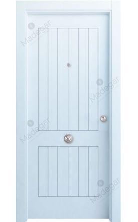 Puerta entrada seguridad madera blindada Innova Oza 5 - blanco. Madegar