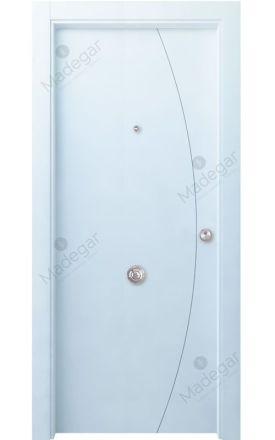 Puerta entrada seguridad madera blindada Innova Ordesa 1 - blanco. Madegar