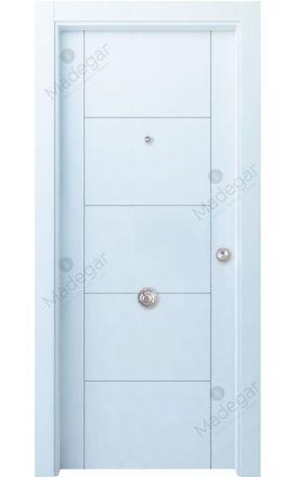 Puerta entrada seguridad madera blindada Innova Ambroz H4 - blanco. Madegar
