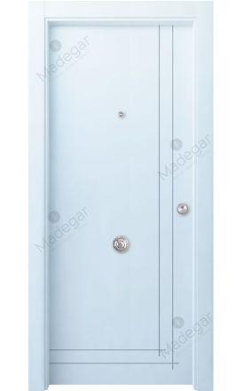 Puerta entrada seguridad madera blindada Innova Valsaín 8C - blanco. Madegar