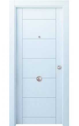 Puerta entrada seguridad madera blindada Innova Gomera R6 - blanco. Madegar