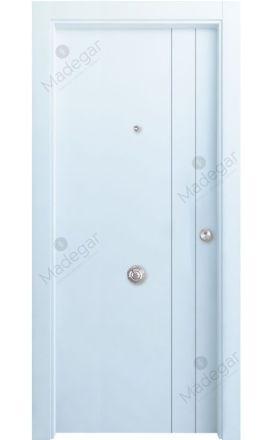 Puerta entrada seguridad madera blindada Innova Tejera 1-1 - blanco. Madegar