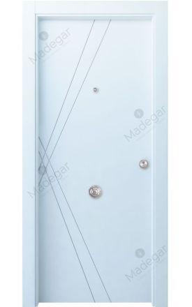 Puerta entrada seguridad madera blindada Innova Roya - blanco. Madegar