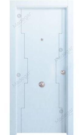 Puerta entrada seguridad madera blindada Innova Callecs - blanco. Madegar
