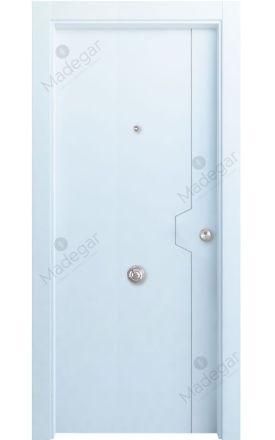 Puerta entrada seguridad madera blindada Innova Catasós - blanco. Madegar