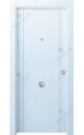 Puerta entrada seguridad madera blindada Innova Tejera 2 - blanco. Madegar