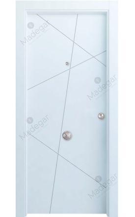 Puerta entrada seguridad madera blindada Innova Riaño - blanco. Madegar