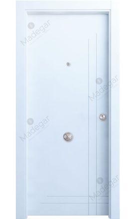 Puerta entrada seguridad madera blindada Innova Cedro - blanco. Madegar