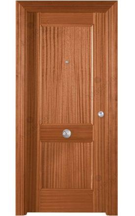 Puerta entrada seguridad madera blindada Plafonada 2 Cuadros - sapelly natural F. Madegar