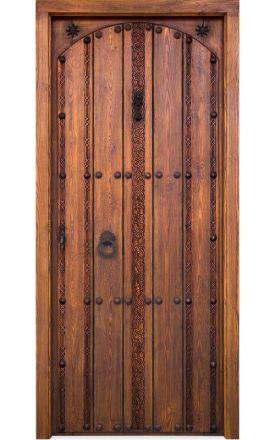 Puerta entrada clásica rústica Adelfa, maciza Adelfa S2, al-nogal. Alpujarreñas