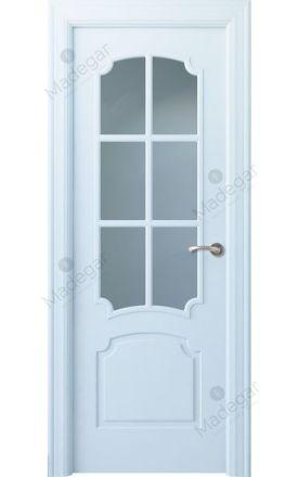 Puerta interior clásica lacada Angle, termo-acústica ld7 Faedo 6V, blanco. Madegar