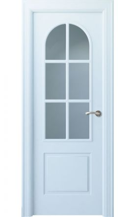 Puerta interior clásica lacada Angle, termo-acústica ld7 Tilos 6V, blanco. Madegar