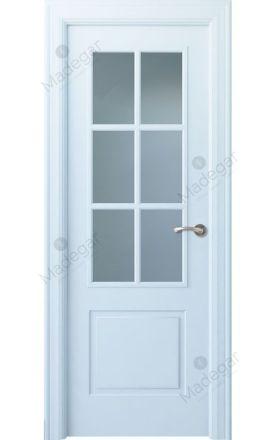 Puerta interior clásica lacada Angle, termo-acústica ld7 Bellver 6V, blanco. Madegar