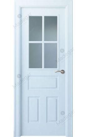 Puerta interior clásica lacada Angle, termo-acústica ld7 Genal 4V, blanco. Madegar