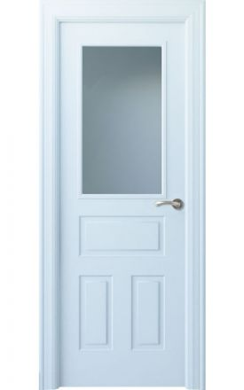Puerta interior clásica lacada Angle, termo-acústica ld7 Genal 1VC, blanco. Madegar