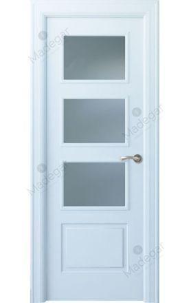 Puerta interior clásica lacada Angle, termo-acústica ld7 Eume 3V, blanco. Madegar