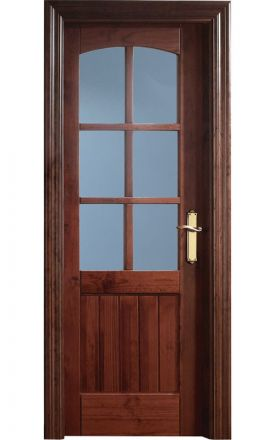 Puerta interior clásica madera Castellana, maciza Arco Duelas 6V, pino apache