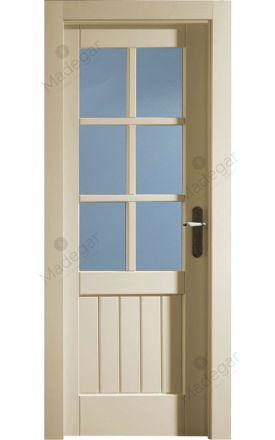 Puerta interior clásica madera Castellana, maciza Recto Duelas 6V, ral 9010